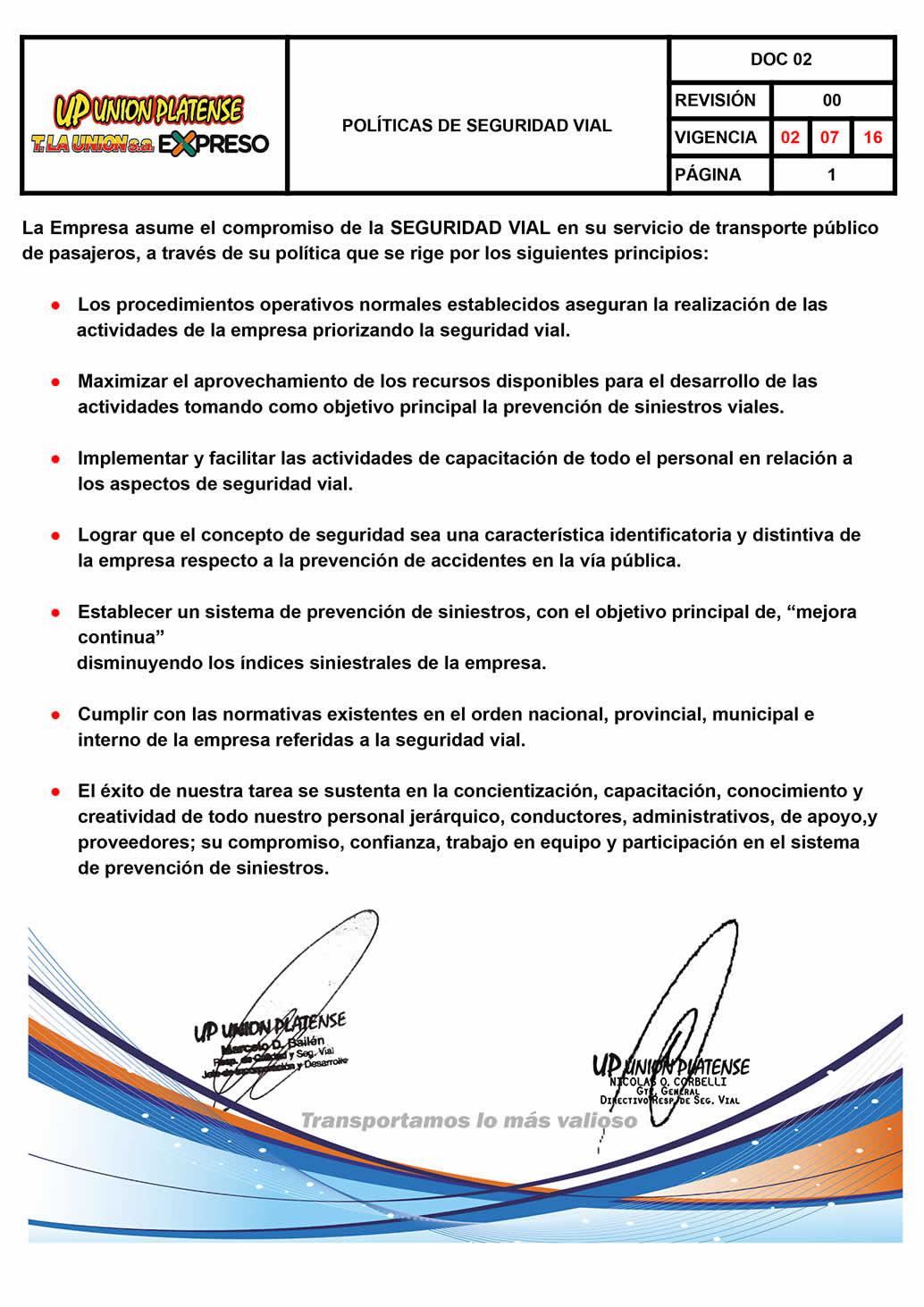 DOC 02 - POLÍTICAS DE SEGURIDAD VIAL
