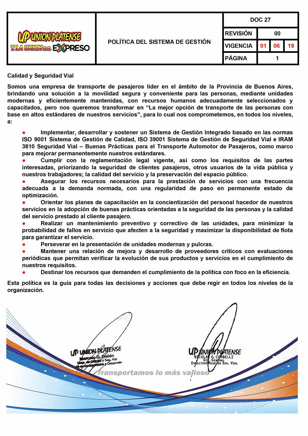 DOC 27 - POLITICAS DEL SISTEMA DE GESTION